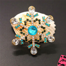 Snowflakes Charm Brooch Pin Gift New Betsey Johnson Blue Rhinestone Christmas