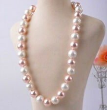 "12MM pink white south sea shell pearl necklace 25"" AAA"