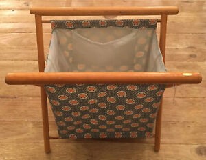 Vintage NEW Standing Folding Wood Frame Knitting Stand Basket Tote Lined