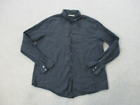John Varvatos Button Up Shirt Adult Extra Large Black Gray Long Sleeve Mens