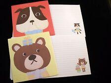 Dog & Bear Letter Set - Kawaii Korean Stationery - Cute Daiso writing paper