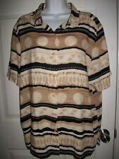 Alfred Dunner Women's Tan & Black Print Shirt Size 20