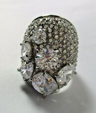 Ring Huge Cubic Zirconia Statement Rhinestone Cluster Cocktail Size 7.5 NWT 46