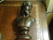 Vintage Bust of Christ Christian Religion Statue Clay Bisque