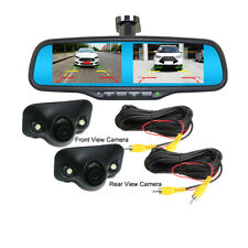 "4.3"" Dual Split Screen Mirror Monitor+Car Front Side Rear View Reverse 2 Cameras"