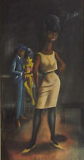 signed Hicks, original pastel  (humor with a pang or wince) 50's beehive hairdo
