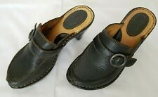 d09c70e606a0 Womens Sz 6 Black Born Leather Clogs Slides Mules Wedge Heels Shoes W31002  used