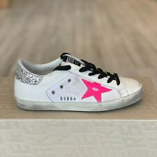 Golden Goose Superstar Pink Star White Canvas Glitter Sneakers Trainers Sz 35/2