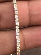 2.50 Cts Round Brilliant Cut Pave Diamonds Tennis Bracelet In Fine 14K Rose Gold