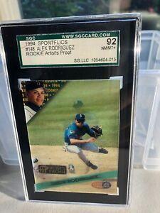 1994 Sportflics #148 Alex Rodriguez Rookie. Artist Proof SGC 92. NM/MT. RARE