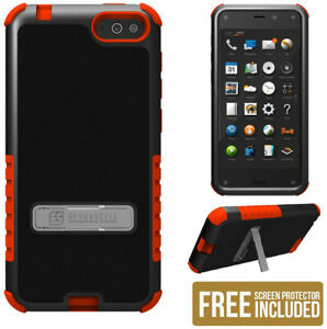 RED TRI-SHIELD SOFT SKIN HARD CASE STAND SCREEN PROTECTOR FOR AMAZON FIRE PHONE