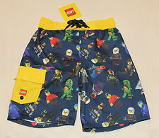 Lego Classic Minifigures Boys Navy Blue Yellow Printed Board Shorts Size 6 New