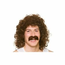 80's Perm With Tash Brown 1980's Curly Adults Mens Fancy Dress Costume Accessory