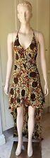Handmade Unique Dress Silk Floral Asymmetrical w/Trail Halter, 3 Frills Size-10