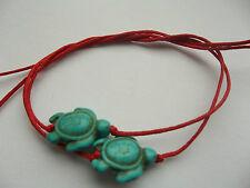 KARMASTRING 2 pack red string tie on bracelet & turquoise turtle sharing lovers