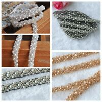 1 Yard Handmade Pearl Beaded Sewing Mesh Fabric trim Chain Dress Decor Belt