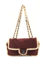 Chanel Purple Suede Quilted Shearling Classic Flap CC Chain Shoulder Handbag