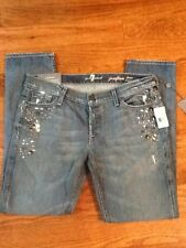 7 SEVEN FOR ALL MANKIND Jeans Josefina Boyfriend Crystal 29 Distressed New Bling