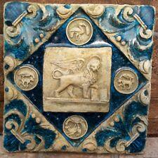 PIASTRELLA Leone San Marco in cotto vetrofuso anticata gelo ok appe murare 26x26