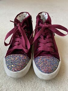 M&S Marks And Spencer Kids Girls Velvet And Glitter Baseball Boots Size UK3
