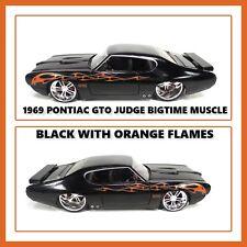 JADA 1969 PONTIAC GTO JUDGE BLACK WITH ORANGE FLAMES 90344 1/24 BIGTIME MUSCLE