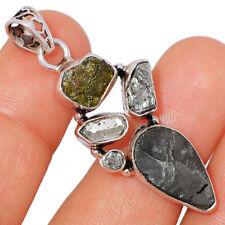 Russian Shungite & Moldavite 925 Sterling Silver Pendant Jewelry BP41221