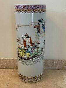 """Chinese Famille Rose Porcelain Figural Calligraphy 24"""" Umbrella Stand"""