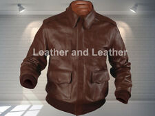 A 2 Flight Crop Flying Airforce Jacket Bomber Pilot Leather Jacket