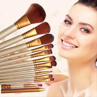 12PCS Fondation Poudre Pinceaux Brosse Trousse à Maquillage Cosmétiques Kit Set