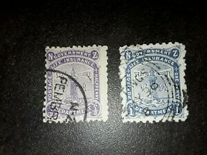 New Zealand Life Insurance Stamps 1/2d & 1d 1891 Used.NH including VR
