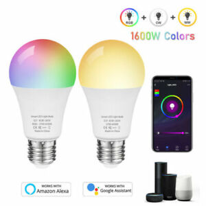 Smart Wifi RGB Bulb Color Changing LED Light Lamp E27 For Alexa Google Home