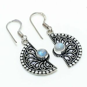 "Rainbow Moonstone Gemstone Gift 925 Sterling Silver Jewelry Earring 1.58 "" G926"