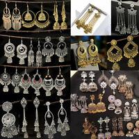 Women's Bell Gypsy Charm Gemstone Tassel Bead Jhumka Indian Drop Tassel Earrings