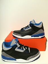 New Nike Air Jordan 3 Retro Sport Blue Black Grey B-Grade Size 11 136064