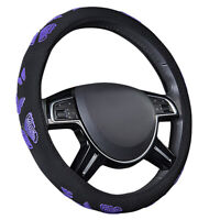 CAR PASS Car Steering Wheel Cover Purple Butterfly Cloth Universal for Car Girls