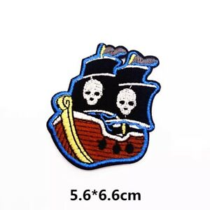 Pirate Ship Skull Iron On Patch Embroidered Badge Pirates Kids Costume Halloween