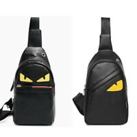 Men's Leather Chest Sling Day Pack Shoulder Bag Sport Travel Backpack Toothless