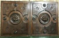 Pair rosette wood carving decorative panel Antique french architectural salvage