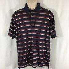 Adidas Men's Climacool Maroon Navy White Striped Polo Golf Shirt Sz Medium