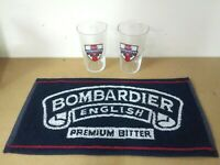 bombardier ale pub home drip golf bar towel beer 2 glasses man cave gift *
