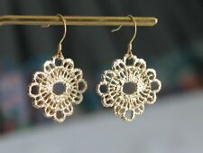 Gold plated Flower Filigree earrings Cut out lace flower jewellery Gift for her