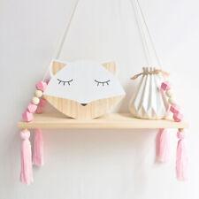 Cute Wood Rope Shelves Wall Hanging Holder Storage Shelves Home Bedroom Decor UK