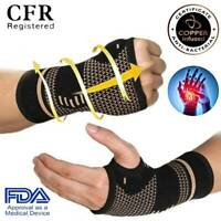 Copper Compression Wrist Support Hand Thumb Brace Palm Sprain Pain Glove Unisex