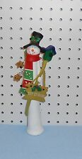 SNOWMAN CLAY FIGURINE - HOLDING BIRDHOUSE - LET IT SNOW SIGN