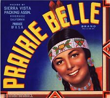 Riverside Prairie Belle #2 Orange Citrus Fruit Crate Box Label Art Print