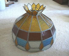 """VINTAGE LEADED STAINED GLASS LAMP LIGHT SHADE with CROWN 15.5"""" AMBER BLUE CLEAR"""