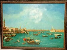 VINTAGE 20th C. LARGE OIL PAINTING OF VENICE SIGNED ORIGINAL BACINO SAN MARCO