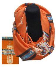 NEW Western Wear Infinity Woven Scarf Navajo Cross Design - Orange & Turquoise