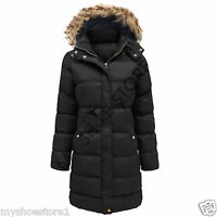 NEW LADIES WOMENS GIRLS QUILTED JACKET PADDED HOODED CASUAL WINTER COAT TOP SIZE