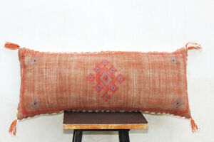 Rust Color Sabra Silk Inspired Hand made Linen 12 X 28 Pillow Cover